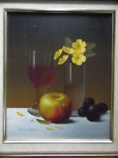 Still Life Fruit, Flowers and Glass, Oil by Mike Woods, Listed.