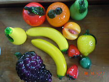 Vintage Italian Murano Style Hand Blown Glass Fruit&Vegetables12 Piece Life Like
