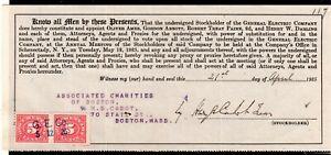 **USA = 5c Documentary Revenue on G. E. C. Stockholder document. 1925. (O0700f)
