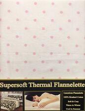 King Size flanelletta gruppo di fogli a Pois Puntini Rosa Baby Bianco 100% COTONE