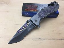 "Dark Side Blades 8"" Purple Dragon Half Serrated Spring Assisted Folding Knife"