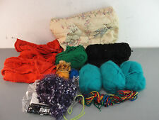 ASSORTED YARN LOT MOHAIR COTTON FEATHER FUR GREEN BLACK RED TEAL QUILTED BAG
