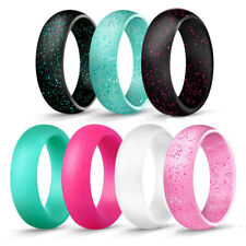 7PCS/Set Men Women Silicone Ring Sporty Rubber Band Ring Jewelry Gifts Size 4-10