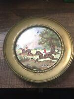 Vintage Solid Brass Plate Wall Art Fox Hunt Scene Insert England Made Decor Vtg