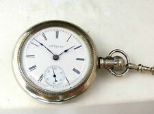 Rare Elgin Silver 18s Side Wind Enamel Dial 1890's Railway Pocket Watch & Chain