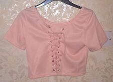 Elfe Pink Lace Up Crop Top Tshirt BNWOT Light Pink-Gyaru,Sweet Lolita,Kera,Hime