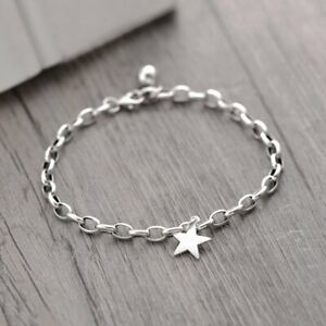 925 Silver Fashion Star Chain Bracelet Bangle Charm Women Wedding Jewellery Gift