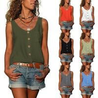 Summer Women Casual Sleeveless Tank Top Solid V Neck T Shirt Loose Blouse Tunic