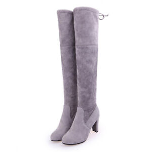 Ladies Womens Thigh High Boots Over Knee Stretchy Block Mid Heels Shoes Size  ~