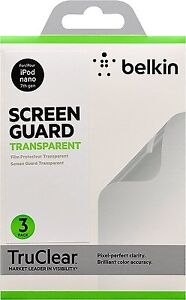Belkin TrueClear Transparent Screen Protector for iPod nano 7th gen - 3 Pack NEW