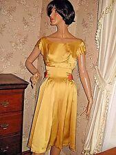 VINTAGE1950 HEAVY GLOSSY GOLD SATIN SHORT PROM SWING DRESS, FULL CIRCLE SKIRT-XS