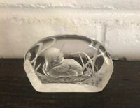 A Capredoni Signed Etched Duck Paperweight Made in England