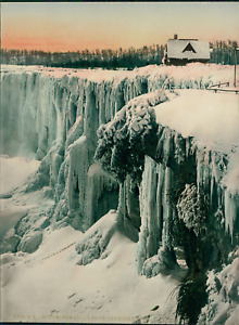 Canada, Niagara, Horseshoe Falls from Canadian Side, Winter. P.Z. vintage photoc