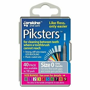 Piksters Size 0 Interdental Brushes Reusable Brushes, Grey, Pack of 40