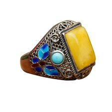Elegant Cloisonne Enamel Honey Amber Vintage Ring open size Silver S925 AS94