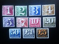GB 1970 Postage Dues eleven different values including £5 stamp, fine used.