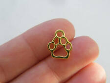 10 Paw prints charms gold plated tone GC109