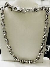 18K White gold Hollow Gucci Mariner Chain Necklace 8.80 gram lobster lock 20in