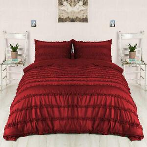 1000 TC Egyptian Cotton 5 PC Horizontal Ruffle Duvet Cover Set All Color & Sizes