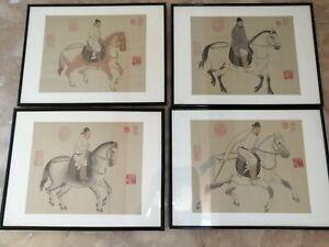 Lithographie Estampe Chinoise représentant des cavaliers à cheval