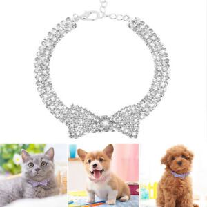 Cute Dog Bow Tie Necklace Bling Rhinestone Pet Cat Collars for Small Puppy Dogs