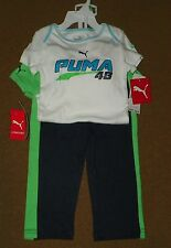 NWT PUMA Infant Baby Boys 3 Piece SET 2 BODY SUIT Tops Athletic PANTS 18 Months