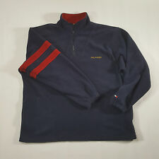 Tommy Hilfiger Navy FLEECE 1/4 zip Pullover Sweatshirt LARGE Spell Out VTG 90s