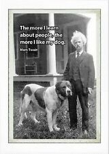 "Mark Twain and his dog refrigerator magnet  3""x 4"""