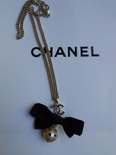 Vintage Genuine Chanel Champagne Black CC Logo Pearl and Bow Pendant necklace