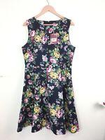 BNWT New JOE BROWNS Dress 16UK Navy Blue Pink Floral Fit Flare Cotton Summer