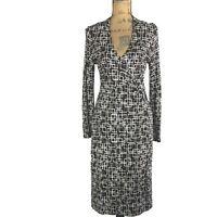 Talbots Dress Faux Wrap 4 Petite Sm S White Black Brown Retro Square Long Sl LN