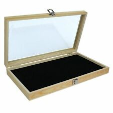 """""""Display Box Case"""" - Natural Wood Glass Top Lid Black Pad Medals Awards Jewelry!"""