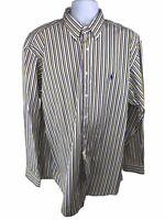 Ralph Lauren Mens Classic Fit Striped LS Button Down Shirt 17 XL Blue Yellow NWT