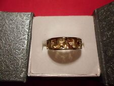Madeira Citrine 5-Stone Band Ring in Stainless Steel-Size 8-3.25 Carats