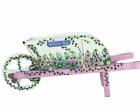 KATHY HATCH Hand  Painted Signed Pink Wooden Wheelbarrow Flowers,Vines