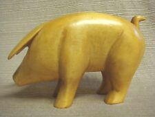 SMALL One-of-a-Kind Hand Carved WOODEN PIG STATUE - Signed & Dated