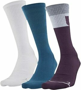 Under Armour Adult 3 Pk Purple White Crew Knit Phenom UA Training Socks L 8-12