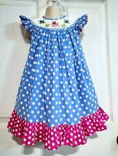 ~BOUTIQUE~ Girl's Blue Polka Dot Smocked Fish / Octopus Angel Sleeve Dress 12M
