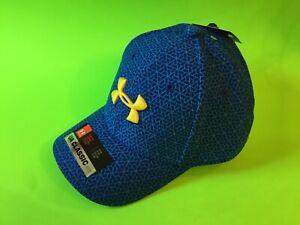 New UNDER ARMOUR Heatgear Youth Boys Snapback Hat Sz S/M Blue w/Yellow