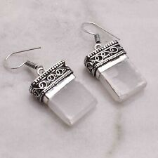 "Selenite  Handmade Drop Dangle Earrings Jewelry 1.4"" AE 55074"