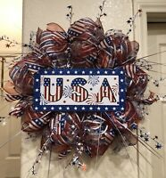 "USA DECO MESH Wreath 4TH OF JULY Patriotic Fireworks RED WHITE & BLUE 24"" x 24"""
