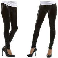 Black Womens Shiny WET LOOK Leggings Full Ankle Length Tight All Sizes UK New