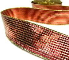 """5 Yards Sale Christmas All Metallic Red Gold Woven Foiled Wired Ribbon 1 1/2""""W"""
