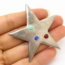 Vtg Mexico 925 Sterling Silver Multicolor Gemstone Star Design Pin Brooch