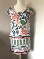 White Stuff White Multi Floral Tunic Dress Size 10 Linen Short Sleeves Pockets