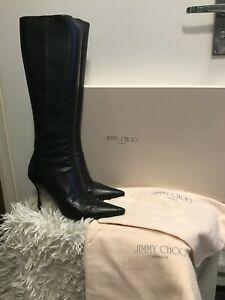 Jimmy Choo Black Kid Leather Knee High Boots in Original Box Size UK 6 EUR 39