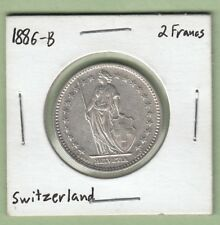 1886-B Switzerland 2 Francs Silver Coin - EF (Cleaned)