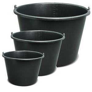 5-20 Liter Baueimer Mörteileimer Wassereimer Putzeimer Kübel Eimer schwarz Set