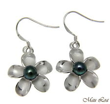 925 Silver Hawaiian Plumeria Flower Fresh Water Pearl Wire Hook Rhodium Earrings