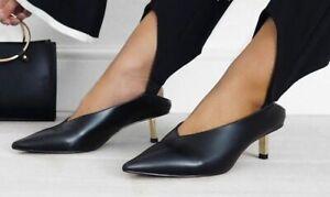 Zara Black Mules Metallic Pointed Faux Leather Kitten Heels UK 4 37